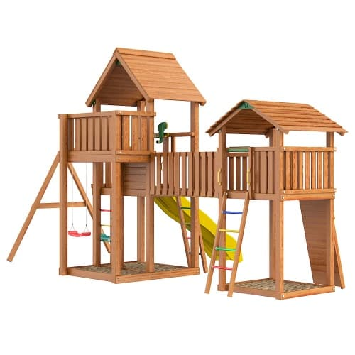 "Детская площадка ""Jungle Gym"" Jungle Palace + bridge Link+ cottage + Swing + Rock от интернет-магазина igrinadache.ru фото 2"