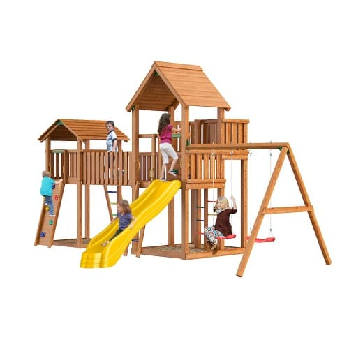 "Детская площадка ""Jungle Gym"" Jungle Palace + bridge Link+ cottage + Swing + Rock от интернет-магазина igrinadache.ru"