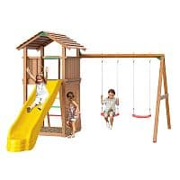 "Детская площадка ""Jungle Gym"" Jungle Cottage+Swing Module Xtra + Rock Module от интернет-магазина igrinadache.ru"